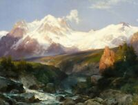 The Teton Range Thomas Moran Landscape Painting Print on Canvas Repro Giclee SM