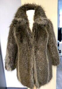 Ladies Womens  Faux Shaggy Fur  Coat  Faun  Brown Mix  Size 10 - 12