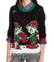 NEW Ugly Christmas Sweater Juniors Elf Love Pullover Fringe Bottom, Black, Small
