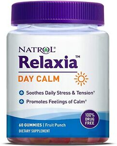 Relaxia Day Calm Daily Stress Relief Gummies Fruit Punch Flavor 60 Gummies