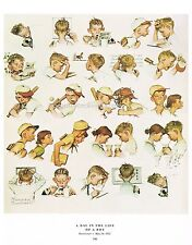 """Norman Rockwell print: """"A DAY IN THE LIFE OF A LITTLE BOY"""" 11x15"""" Busy Young Man"""