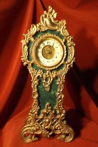 Antique Bronze Mounted Faux Malachite Miniature Grandfather Clock