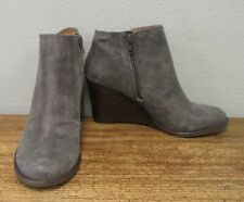 LUCKY BRAND Gray Brushed Distressed Leather YIMME Wedge Booties Womens 8
