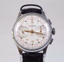 Antique Swiss Military Aviation LEONIDAS Telemetre WWII Chronograph Wrist Watch