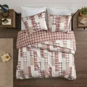 NEW! SOFT COZY COUNTRY LODGE LOG CABIN RED BROWN IVORY BEIGE TAN PLAID QUILT SET