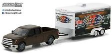 "FORD F-150 2015 WITH TRAILER ""NICE CAR COLLECTION"" HITCH AND TOW GREENLIGHT 1/64"