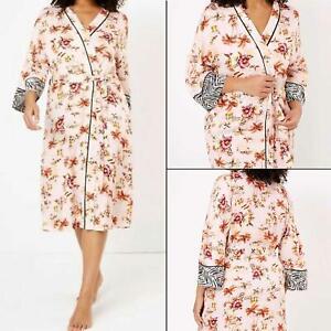 EX M&S Ladies Kimono Tropical Print Light Weight Dressing Gown Womens Loungewear
