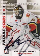 CURTIS McELHINNEY, TORONTO MAPLE LEAFS/QC FLAMES, RARE AUTO'D/SIGNED NHL CARD.