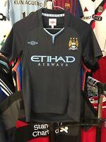 Manchester City away football shirt for boys size 146 Umbro 2010-2011