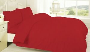 Sleep & Dream Plain Dyed Easy Iron Percale Duvet Quilt Cover Double - Red