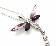 Purple Dragonfly Dangle Pendant Crystal Women Necklace New Flexible Tail