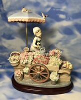 "Lladro ""Flowers of the Season"" Glazed Porcelain Figurine Cart #1454 RGUC As Is"