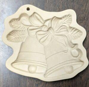 Vintage Brown Bag Cookie Art Twin Christmas Bells Ceramic Mold 1990 Hill Design