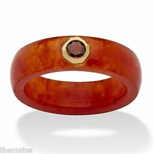 10K GOLD BAND RING GARNET AND RED JADE RING SIZE 5, 6,7,8,9,10