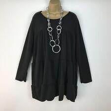 Tunic Smock Top Lagenlook Black Layered Pleating Italian UK Size 16 18 20 22