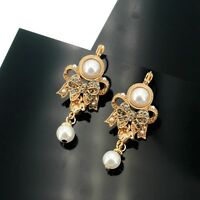 Earrings Sleeper Golden Chandelier Bird Bow Tie Pearl QD4