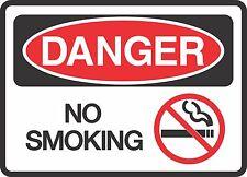 "DANGER NO SMOKING  (5 Pack) 3.5"" x 5"" Label Sticker Safety Sign Decal Warning"