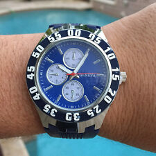 Mens Designer Silicone Jelly Rubber Geneva Blue Large Face Chronograph Watch