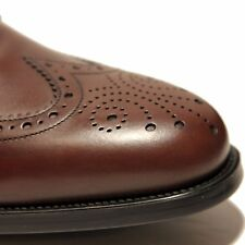 NIB FERRAGAMO Ponce BROWN Wingtip Brogue Leather Oxford Mens 10 D 43 Dress Shoes