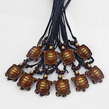 Wholesale Lot 12 Pcs Faux Yak Bone Resin Turtle Pendants Necklaces Adjustable
