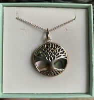 """Sterling Silver Turquoise/Abalone/Mother-of-Pearl Tree of Life Pendant 18"""""""