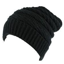 Black Rib Knitted Beanie Hat (Black)