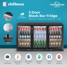 Chillmax Bar Fridge 3 Door Glass BLACK