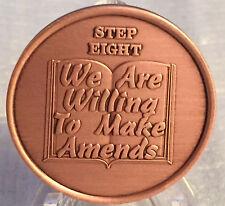 Step 8 Copper Twelve Step Medallion AA NA Recovery 12 Steps Serenity Prayer Chip