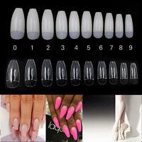 500 PCS Ballerina Coffin Shape False Nail Tips Nail Art Full / Half Tips CL W NT