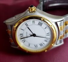 Cartier Ronde Santos Rare Hallmark Automatic Date 925 Sterling Silver Gold Watch