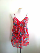 Summer Brights! Bebe size 14 frilled polyester top in excellent condition