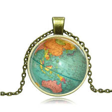 Vintage globe Cabochon Photo Bronze Glass Chain Pendant Necklace AG42