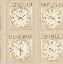 DeBona, Papier peint, horloges impressions, Londres Paris NY LA , rouleau