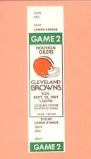 Houston Oilers at Cleveland Browns 1981 NFL ticket stub Topps Earl Campbell HOF