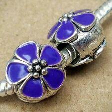 2P Antique Silver Plated Dark Purple Cherry Blossom Flower European Beads Charms