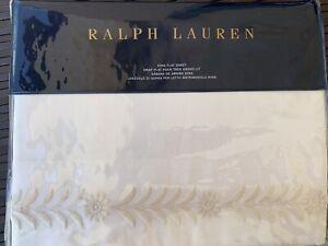Ralph Lauren Sonoma Valley Lizeth Cream King Flat Sheet MSRP $245