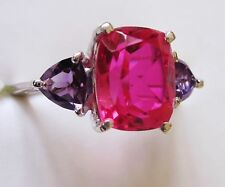 Rubellite Quartz & Amethyst Ring in Sterling Silver sz 7 --  4.53 cts