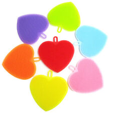 1pc Heart Shape Silicone Cleaning Brush Mop Bowl Dish Wash Kitchen Cleaning