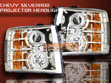 07 08 09 10 CHEVY SILVERADO PROJECTOR HEADLIGHTS TWO HALO LED CCFL CHROME