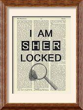 Impresión de arte-Sherlock Holmes-I Am Sherlocked-Antiguo Libro página