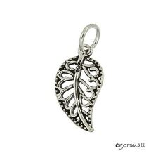 Antique Sterling Silver Filigree Leaf Dangle Pendant Charm Bead 1pc #97535