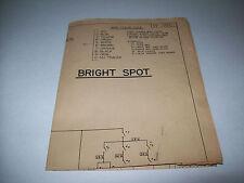 Bright Spot By Bally 1952 Orig. Bingo Pinball Machine Schematic Wiring Diagram