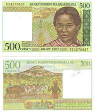 Madagascar   500 Francs  1994    P-75,  Unc  Banknote  Africa