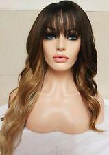 Brown Human Hair Wig Lace Front Black Auburn Bangs