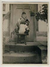 MÄDCHEN m GROSSEM TEDDYBÄR / GIRL w BIG TEDDY BEAR * Vintage 30s Amateur Photo