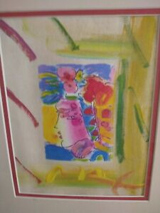 Peter Max - Mixed Media - Blushing Beauty artist sketch signed on back.