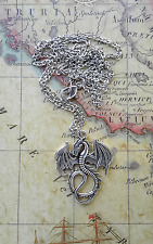 MAGNIFICENT FLYING DRAGON MEDIEVAL PAGAN FANTASY PENDANT NECKLACE SILVER CHAIN