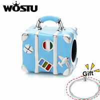 S925 Sterling Silver Charms Beads Suitcase Blue Pendant Fit Bracelet Chain Wostu
