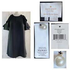 KATE SPADE Women's Large Black Cold Shoulder Crepe Dress Keyhole Back NWT $298