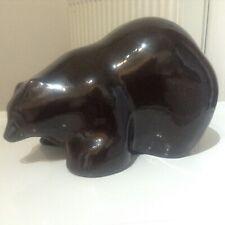 Raku Pottery California Tony Evans Brown Bear Sparkle Signed 27 cms